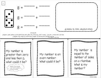 Interactive Math Problem Solving Activities for Kindergarten ~ Editable
