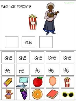 "Interactive Pronoun flip book ""HE /SHE"" Sort Sentence Creation & Syntax (Speech)"