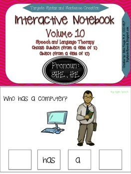 "Interactive Pronoun flip book ""HE /SHE"" Sort Sentence Crea"