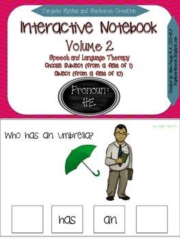 "Interactive Pronoun flip book ""HE"" Sentence Creation & Syntax (Speech/Language)"