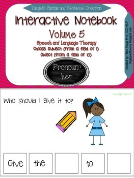 "Interactive Pronoun flip book ""HER"" Sentence Creation & Syntax (Speech/Language)"