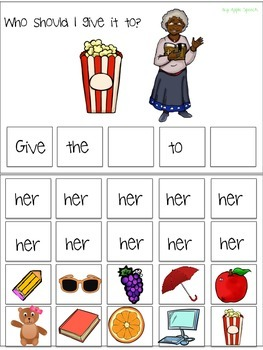 "Interactive Pronoun flip book ""HER"" Sentence Creation & Syntax (Speech/Language)"