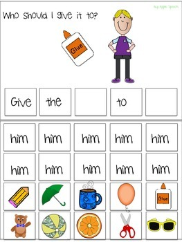 "Interactive Pronoun flip book ""HIM"" Sentence Creation & Syntax (Speech/Language)"