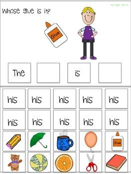 """Interactive Pronoun flip book """"HIS"""" Sentence Creation & Syntax (Speech/Language)"""