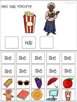 "Interactive Pronoun flip book ""SHE"" Sentence Creation & Syntax (Speech/Language)"