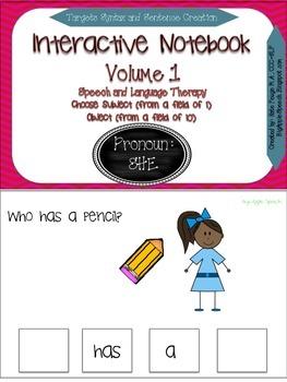 """Interactive Pronoun flip book """"SHE"""" Sentence Creation & Sy"""