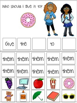 "Interactive Pronoun flip book ""THEM"" Sentence Creation & Syntax (Speech/Lang)"