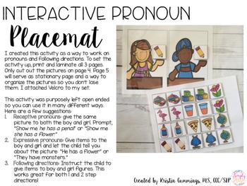 Interactive Pronoun Placemat FREEBIE!