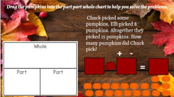 Interactive Pumpkin Part-Part Whole Word Problem Fall Themed