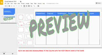 Interactive Quadrilaterals Sort using Google Slides