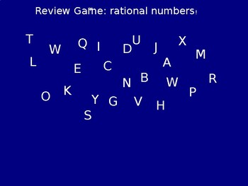 Interactive Rational Numbers Unit Review Game