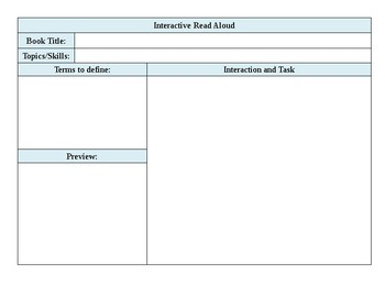 Interactive Read Aloud Lesson Template