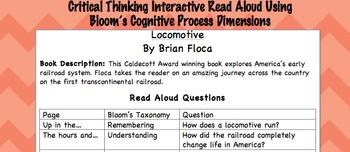Interactive Read Aloud: Locomotive by Brian Floca -Common Core Aligned