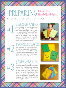 Interactive Read Aloud Signs for Fiction