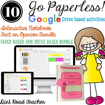 Fact and Opinion Interactive Reader's Notebook Paper and Paperless BUNDLE