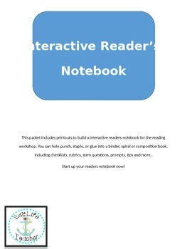 Interactive Reader's Notebook Journal Worksheets