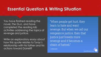 Interactive Reading Lab spiral review for the novel The Gun by Paul Langan