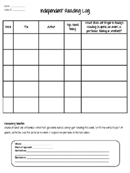 Interactive Reading Log and Rubric