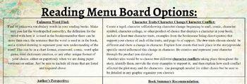 Interactive Reading Choice Menu Board