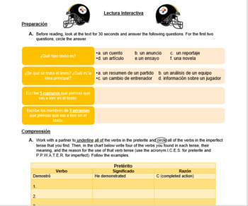 Interactive Reading Model - Alejandro Villanueva/Fútbol americano