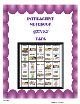 Interactive Reading Notebook Genre Question Tabs