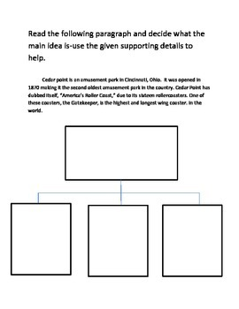 Main Idea Interactive Reading Notebook Pages for Nonfiction
