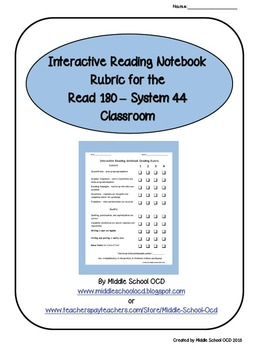 Interactive Reading Notebook Rubric for the Read 180 - System 44 Classroom