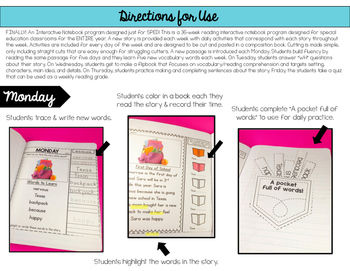 Interactive Reading Notebook / Special Education
