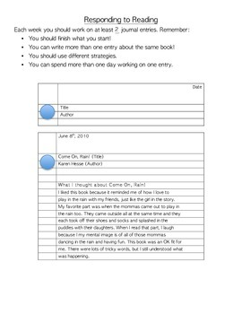 Interactive Reading Response Notebooks or Journals with Response prompts