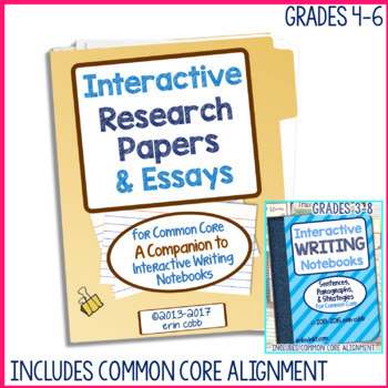 Interactive Research Papers & Essays for Common Core Writing Grades 4-6