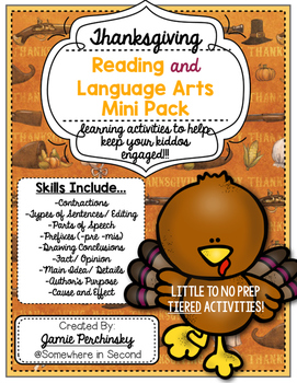 Thanksgiving Reading and Language Arts Interactive Pack