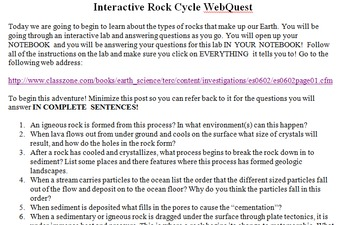 Interactive Rock Cycle Web Quest