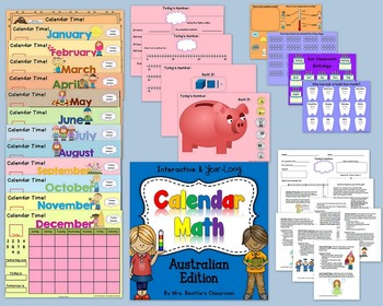 Interactive Calendar Math for SMART Board ~KINDERGARTEN Australian~