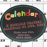 Interactive SMART Board and PPtx Calendar Slides 2017-July 2018