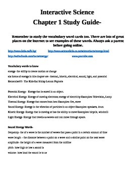 Interactive Science 4th Grade Physical Science Study Guide
