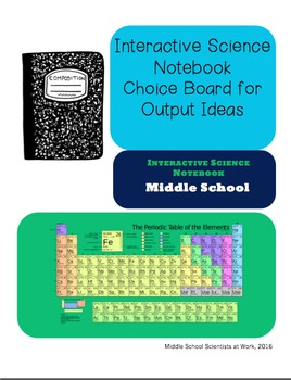 Interactive Science Notebook Choice Board for Outputs