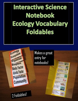 Interactive Science Notebook Ecology Vocabulary Foldable