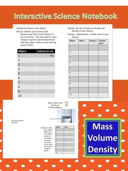 Interactive Science Notebook Mass, Volume, and Density Investigation Lab
