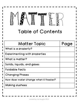 Interactive Science Notebook : Matter
