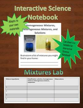 Interactive Science Notebook Creating Mixtures Lab