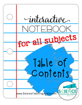 Interactive Science Notebook Table of Contents pages- FREEBIE!