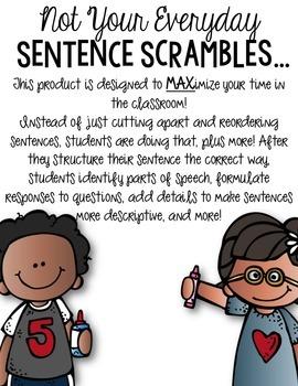 Interactive Sentence Scrambles FREEBIE