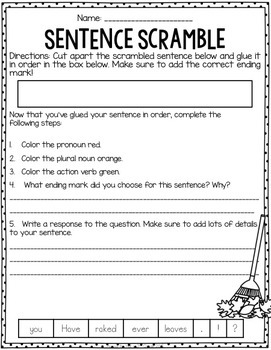 Interactive Sentence Scrambles Fall {BUNDLED}