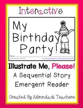 """Emergent Reader Interactive Sequential Story""""My Birthday Party!"""""""