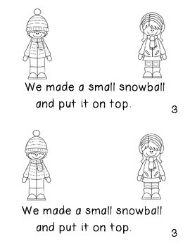 "Emergent Reader ""We Made A Snowman!"" An Interactive Sequential Story"
