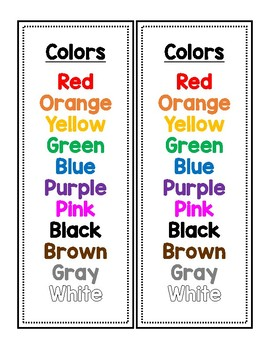 Number and Color Word Student Resource Sheet