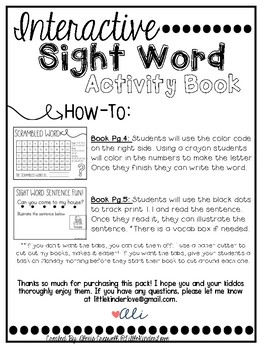Interactive Sight Word Book-away
