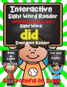 Interactive Sight Word Emergent Reader: Sight Word DID