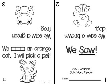 Sight Word: SAW - Interactive Flap Book, Reader, and More!