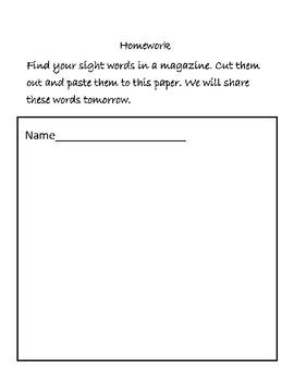Interactive Sight Word Homework